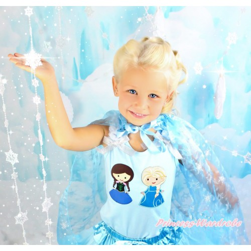 Frozen Light Blue Tank Top White Ruffles Sparkle Silver Grey Bow With Princess Anna & Princess Elsa Print TM276