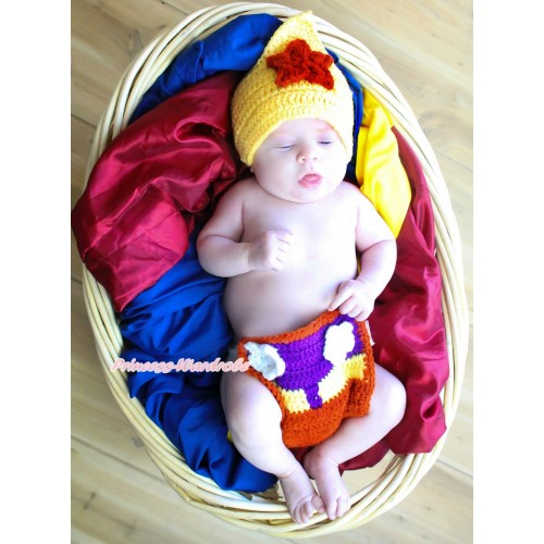 Yellow Red CowBoy Sweater Photo Prop Crochet Newborn Baby Costome C309