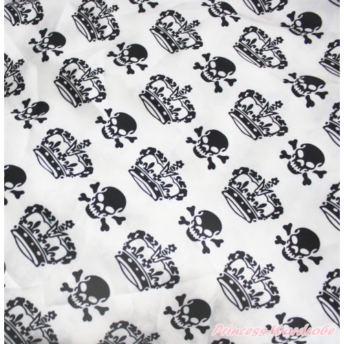 1 Yard Crown Skeleton Print Satin Fabrics HG126