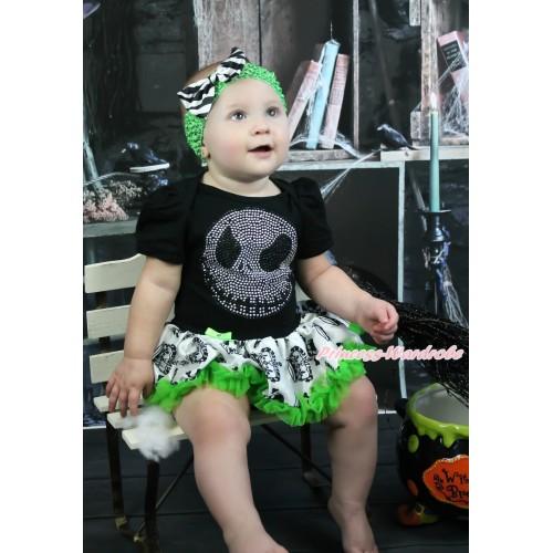 Halloween Black Baby Bodysuit Crown Skeleton Pettiskirt & Rhinestone Nightmare Before Christmas Jack & Dark Green Headband Zebra Satin Bow JS3967
