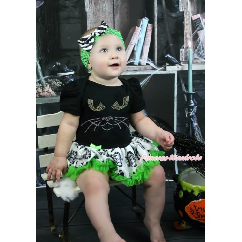 Halloween Black Baby Bodysuit Crown Skeleton Pettiskirt & Sparkle Rhinestone Black Cat Face & Dark Green Headband Zebra Satin Bow JS3968