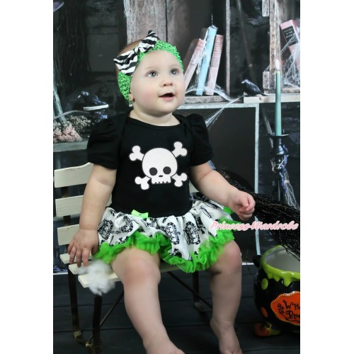 Halloween Black Baby Bodysuit Crown Skeleton Pettiskirt & White Skeleton & Dark Green Headband Zebra Satin Bow JS3970