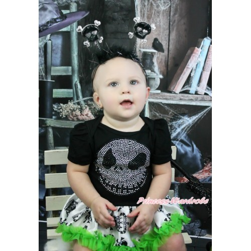 Halloween Black Baby Bodysuit Crown Skeleton Pettiskirt & Rhinestone Nightmare Before Christmas Jack & Black Skeleton Headband JS3971