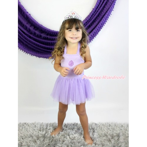 Princess Sofia Lavender Halter Dress & Sparkle Bling Rhinestone Necklace LP147