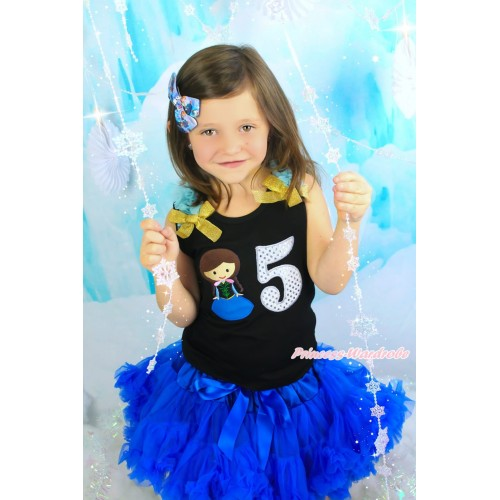 Black Tank Top with Light Blue Ruffles & Sparkle Goldenrod Bow with Princess Anna & 5th Sparkle White Birthday Number Print & Royal Blue Pettiskirt MG1202