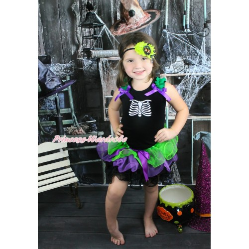 Halloween Black Tank Top Kelly Green Ruffles Dark Purple Bow & Skeleton Rib & Dark Purple Bow Dark Green Purple Black Petal Pettiskirt MG1347