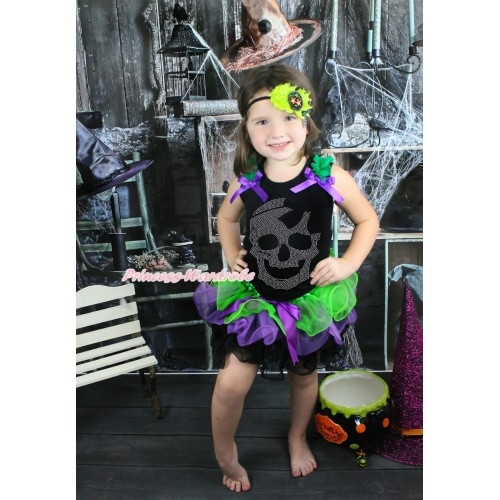 Halloween Black Baby Pettitop Kelly Green Ruffles Dark Purple Bow & Sparkle Rhinestone Skeleton & Dark Purple Bow Dark Green Purple Black Petal Newborn Pettiskirt NG1581