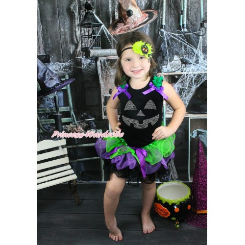 Halloween Black Baby Pettitop Kelly Green Ruffles Dark Purple Bow & Sparkle Rhinestone Pumpkin Face & Dark Purple Bow Dark Green Purple Black Petal Newborn Pettiskirt NG1583