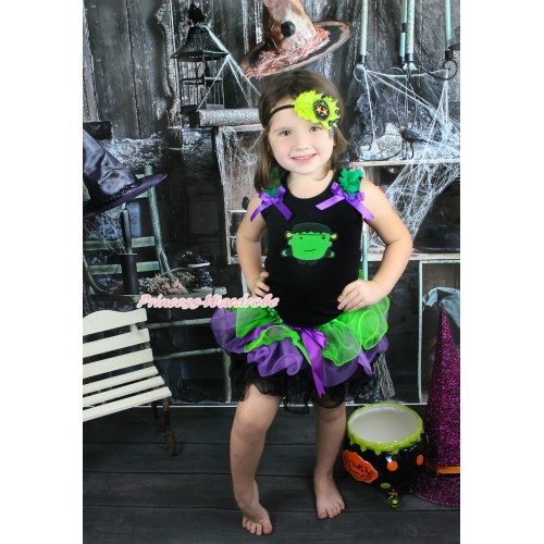 Halloween Black Tank Top Kelly Green Ruffles Dark Purple Bow & Frankenstein & Dark Purple Bow Dark Green Purple Black Petal Pettiskirt MG1351
