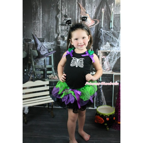 Halloween Black Baby Pettitop Kelly Green Ruffles Dark Purple Bow & Skeleton Rib & Dark Purple Bow Dark Green Purple Black Petal Newborn Pettiskirt & Black skeleton Headband NG1586