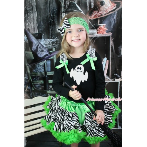 Halloween Black Long Sleeve Top Zebra Ruffles Dark Green Bow & White Ghost & Dark Green Zebra Pettiskirt MW550