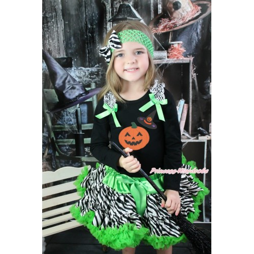 Halloween Black Long Sleeve Top Zebra Ruffles Dark Green Bow & Pumpkin Witch Hat & Pumpkin & Dark Green Zebra Pettiskirt MW551