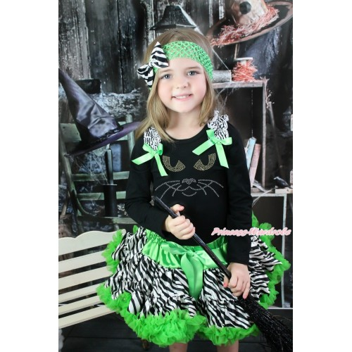 Halloween Black Long Sleeve Top Zebra Ruffles Dark Green Bow & Sparkle Rhinestone Black Cat Face & Dark Green Zebra Pettiskirt MW553