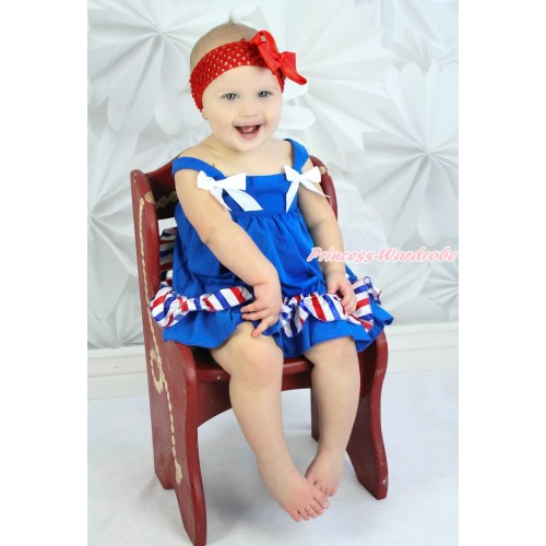 4th July Red White Royal Blue Striped Swing Top White Bow matching Red White Royal Blue Striped Panties Bloomers SP09