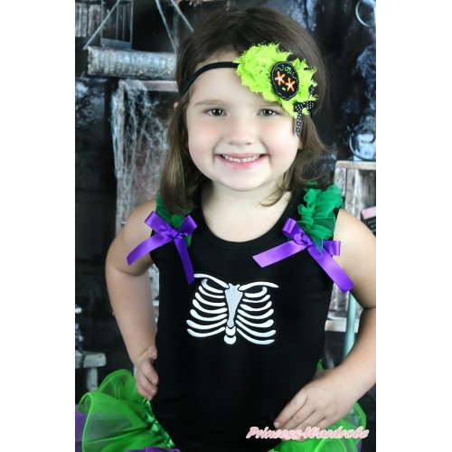 Halloween Black Tank Top Kelly Green Ruffles Dark Purple Bow & Skeleton Rib Print TB929
