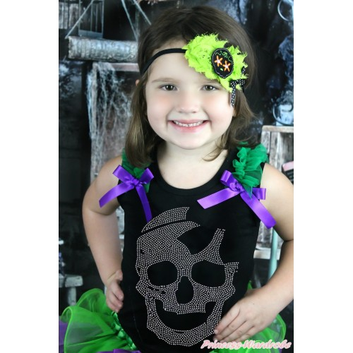 Halloween Black Tank Top Kelly Green Ruffles Dark Purple Bow & Sparkle Bling Rhinestone Skeleton Print TB930