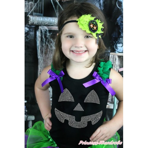 Halloween Black Tank Top Kelly Green Ruffles Dark Purple Bow & Sparkle Rhinestone Pumpkin Face TB932