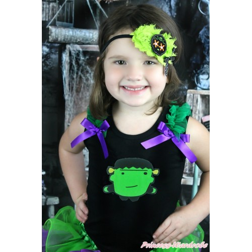 Halloween Black Tank Top Kelly Green Ruffles Dark Purple Bow & Frankenstein TB933