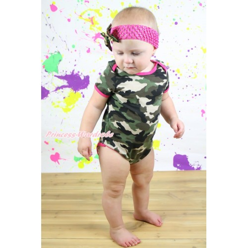 Camouflage Baby Jumpsuit & Hot Pink Headband Camouflage Satin Bow TH548