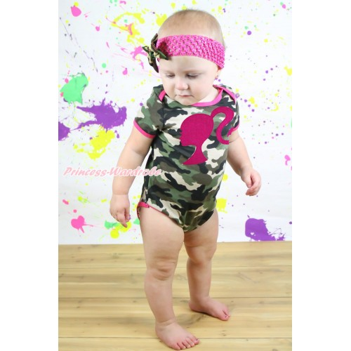 Camouflage Baby Jumpsuit & Hot Pink Barbie Princess Print & Hot Pink Headband Camouflage Satin Bow TH551