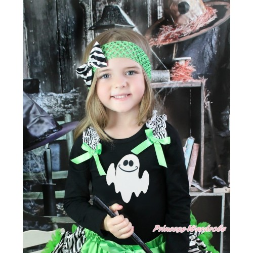 Halloween Black Long Sleeves Top Zebra Ruffles Dark Green Bow & White Ghost Print TO383