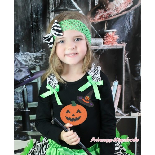 Halloween Black Long Sleeves Top Zebra Ruffles Dark Green Bow & Pumpkin Witch Hat & Pumpkin Print TO384
