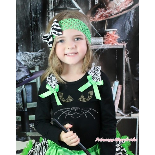 Halloween Black Long Sleeves Top Zebra Ruffles Dark Green Bow & Sparkle Rhinestone Black Cat Face Print TO386