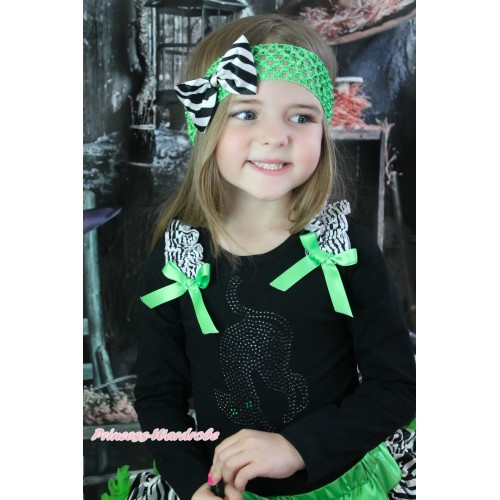 Halloween Black Long Sleeves Top Zebra Ruffles Dark Green Bow & Sparkle Rhinestone Black Cat Print TO389