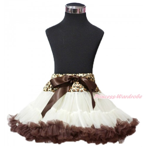 Leopard Waist Cream White Brown Teen Full Pettiskirt XXL AP101