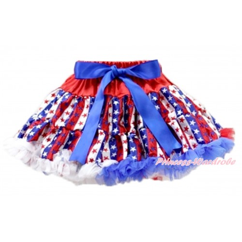 Red White Royal Blue Striped Star Adult Pettiskirt XXXL AP97
