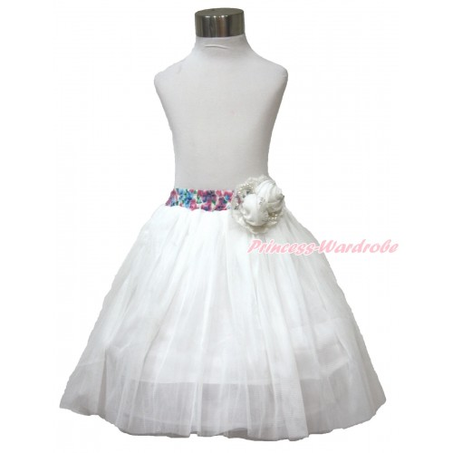 White Pearl Satin Rose With Rainbow Floral Fusion Waist White Chiffon Maxi Skirt B267