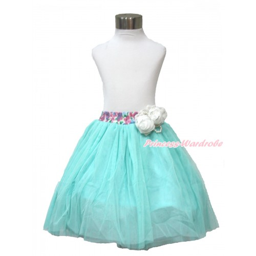 White Pearl Satin Rose With Rainbow Floral Fusion Waist Aqua Blue Chiffon Maxi Skirt B268