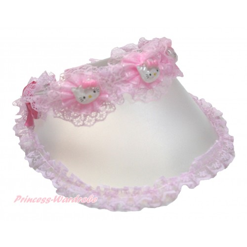 Light Pink Lace Kitty Summer Sun Hat H855