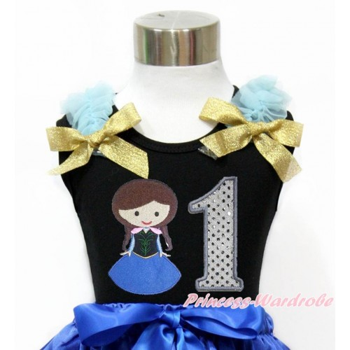 Black Tank Top With Light Blue Ruffles & Sparkle Goldenrod Bow With Princess Anna & 1st Sparkle White Birthday Number Print TB794