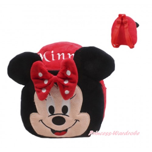 Red White Dots Big Ears Minnie Kids Children Backpack CB169