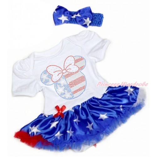 4th July White Baby Bodysuit Jumpsuit Patriotic American Star Pettiskirt With Sparkle Crystal Bling Rhinestone 4th July Minnie Print With Rayal Blue Headband Patriotic American Star Satin Bow JS3345