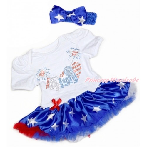 4th July White Baby Bodysuit Jumpsuit Patriotic American Star Pettiskirt With Sparkle Crystal Bling Rhinestone 4th July Patriotic American Heart Print With Rayal Blue Headband Patriotic American Star Satin Bow JS3346