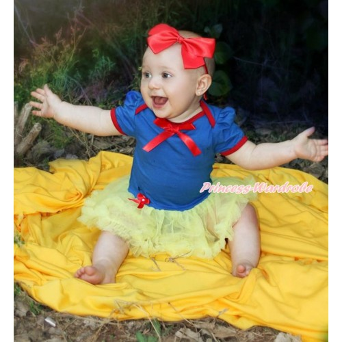 Snow White Royal Blue Red Ruffles Baby Bodysuit Jumpsuit Yellew Pettiskirt with Red Ribbon Bow JS3355