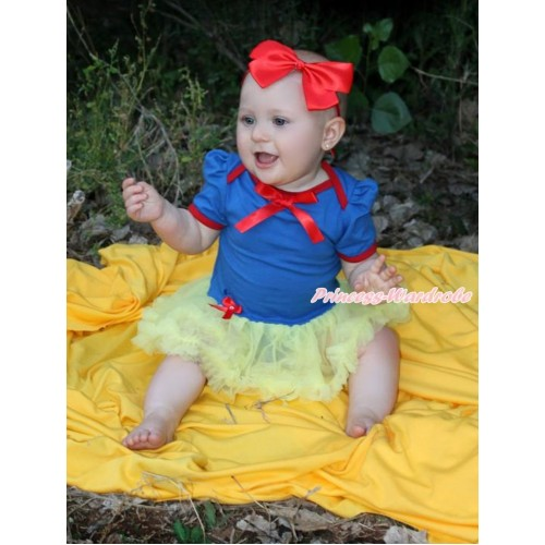 Snow White Royal Blue Red Ruffles Baby Jumpsuit Yellow Pettiskirt With Red Ribbon Bow With Red Headband Red Silk Bow JS3356
