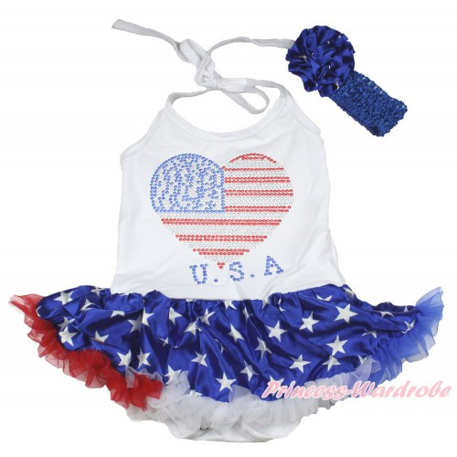 4th July White Baby Halter Jumpsuit Patriotic American Star Pettiskirt With Sparkle Crystal Bling Rhinestone USA Heart Print With Royal Blue Headband Patriotic American Star Rose JS3365
