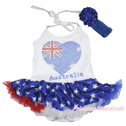4th July White Baby Halter Jumpsuit Patriotic American Star Pettiskirt With Sparkle Crystal Bling Rhinestone Australia Heart Print With Royal Blue Headband Patriotic American Star Rose JS3366