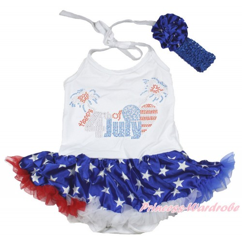 4th July White Baby Halter Jumpsuit Patriotic American Star Pettiskirt With Sparkle Crystal Bling Rhinestone 4th July Patriotic American Heart Print With Royal Blue Headband Patriotic American Star Rose JS3367