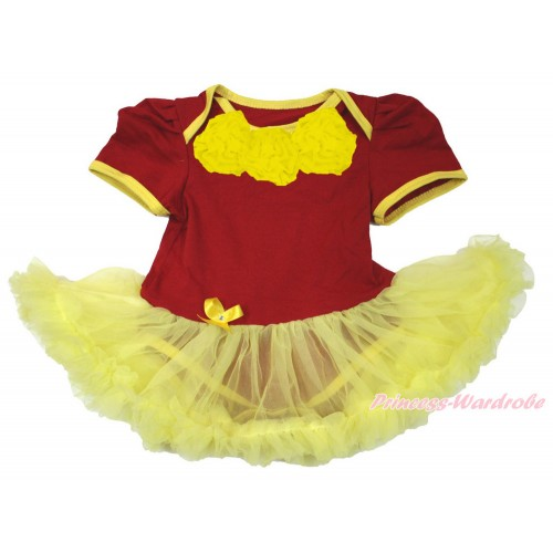 World Cup Spain Red Baby Bodysuit Jumpsuit Yellow Pettiskirt with Yellow Rosettes JS3374