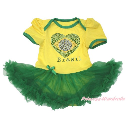 World Cup Brazil Yellow Baby Bodysuit Jumpsuit Kelly Green Pettiskirt with Sparkle Crystal Bling Rhinestone Brazil Heart Print JS3390