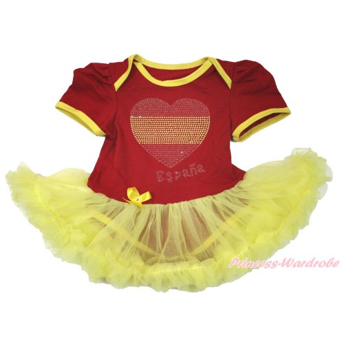 World Cup Spain Red Baby Bodysuit Jumpsuit Yellow Pettiskirt with Sparkle Crystal Bling Rhinestone Spain Heart Print JS3391