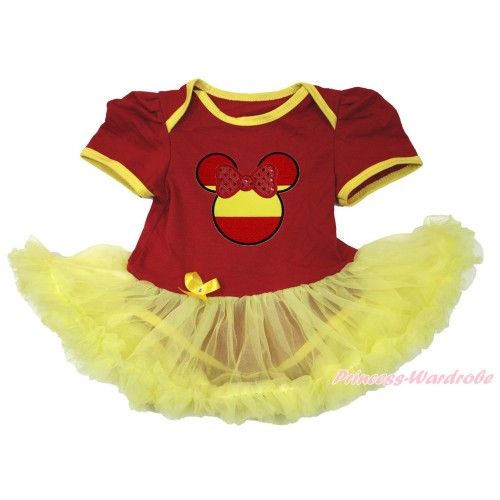 World Cup Spain Red Baby Bodysuit Jumpsuit Yellow Pettiskirt with Sparkle Red Spain Minnie Print JS3392