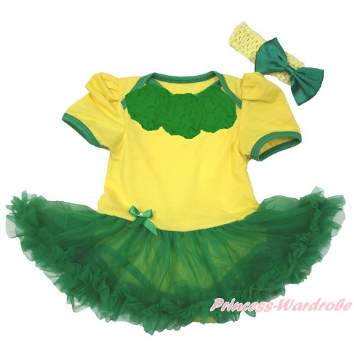 World Cup Brazil Yellow Baby Jumpsuit Kelly Green Pettiskirt With Kelly Green Rosettes With Yellow Headband Kelly Green Satin Bow JS3401