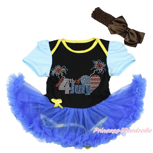 4th July Light Blue Sleeve Black Baby Bodysuit Jumpsuit Royal Blue Pettiskirt With Sparkle Crystal Bling Rhinestone 4th July Patriotic American Heart Print With Brown Headband Brown Silk Bow JS3410