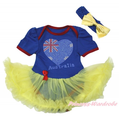 World Cup Royal Blue Red Ruffles Baby Bodysuit Jumpsuit Yellow Pettiskirt With Sparkle Crystal Bling Rhinestone Australia Heart Print With Royal Blue Headband Yellow Satin Bow JS3413