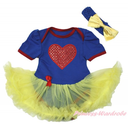 Snow White Royal Blue Red Ruffles Baby Bodysuit Jumpsuit Yellow Pettiskirt With Sparkle Red Heart Print With Royal Blue Headband Yellow Satin Bow JS3414